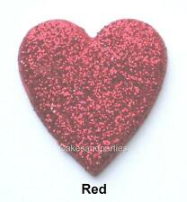 EDIBLE RED GLITTER HEARTS. CAKE DECORATIONS - MEDIUM 3cm x 15