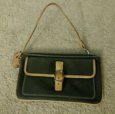 COACH Women's black brown Leather Small Wristlet Clutch Bag