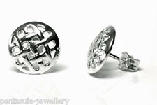 Sterling Silver open weave Celtic Studs Earrings Made in UK Gift boxed
