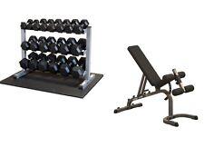 Body-Solid Bench, 5-50lb. Rubber Dumbbells/Rack, Mat Package
