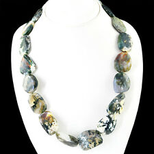 GENUINE AAA 680.00 CTS NATURAL UNTREATED MOSS AGATE BEADS NECKLACE - BIG DEAL