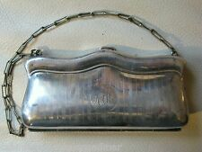Antique Victorian Art Nouveau Pinstripe Silver P Card Case Coin Purse Mono KAM