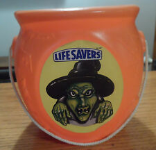 Vtg Halloween Blow Mold Plastic Candy Trick or Treat Bucket w/ Spooky Witch