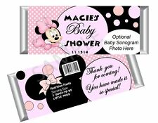 Baby Minnie Mouse Candy Bar Wrappers - Girl Baby Shower - Set/12