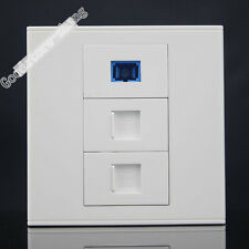 Wall Socket Plate SC Opitcal Fiber + RJ45 Cat5e + RJ11 Telephone Panel Faceplate