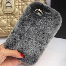 Bling Crystal Rhinestone Luxury Faux Rabbit Fur Phone Case For Iphone 6 6S
