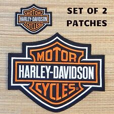 Harley Davidson Classic Orange Logo Sew-on Patch Set - Made in USA