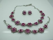 VINTAGE AVON PARURE SILVER TONE PINK ROSE NECKLACE BRACELET PIERCED EARRINGS