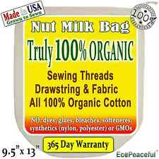 Irregular Nut Milk Bags 100% Organic Cotton, USA grown. Sewing Threads-Organic