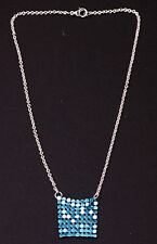 SASSY SILVER TONE NECKLACE SPARKLY BABY BLUE 'HAUBERK' DETAIL UK SELLER (ZX24)