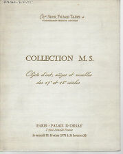 Catalogue vente Collection M.S. Porcelaine Mobilier XVIIe XVIIIe Louis XV XVI