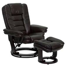 Flash Furniture Brown Leather Recliner & Ottoman with Swivel Mahogany Wood Base