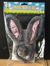Easter Bunny Ears And Tail Band Headband Pink & Grey Fancy Dress Party Easter