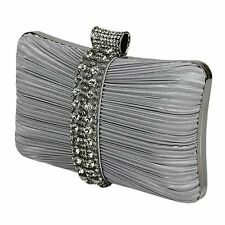 New Sparkly Crystal Diamante Satin Hardcase Wedding Prom Evening Clutch Bag 049