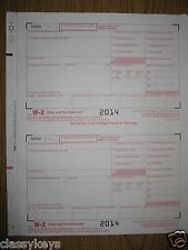 2014 IRS Tax Form W-2 Wage & Tax Stmt, single sheet for 2 empl, 6-pt carbonless