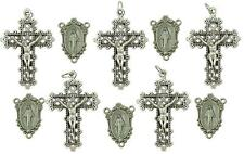 MRT Lot Of 10 Rosary Parts Holy Cross & Miraculous Mary Centerpiece Silver Plate