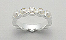 Sterling Silver 5mm Five Seed Pearls & Swirl Eternity Wedding Band Ring sz7 5g