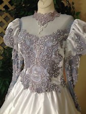 CHOKER NECK SILVER GREY LONG SLEEVE SATIN LACE WEDDING DRESS PEARL BALL GOWN