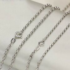 15.7inch Au750 Real 18k White Gold Necklace Fashion 2.5mm Rolo Link Chain 2.5-3g
