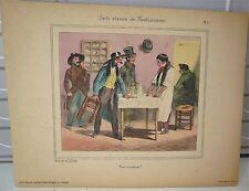 Lithographie, caricature de Grandville, restaurateur- World FREE Shipping* pl2