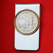 US 2010 Wyoming Yellowstone National Park Quarter BU Coin Two Toned Money Clip