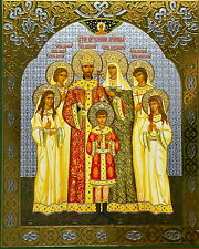 ROMONOV FAMILY Icon Russian Religious Christian Orthodox Print On Board