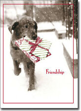 Dog Carrying Present In Snow 10 Black Lab Boxed Christmas Cards