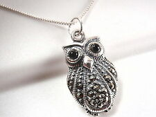 Black Eyed Owl Marcasite Pendant 925 Sterling Silver Corona Sun Jewelry wise