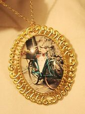 Shiny Swirl Rim Goldtone Leaning Bike Bicycle With Flowers Necklace Brooch Pin
