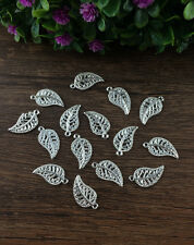 Wholesale 20pcs silver Leaves Charm Pendant beaded Jewelry Findings NEW