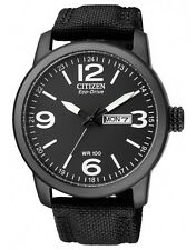 Citizen Eco-Drive Nylon Strap Mens Stainless Steel Military Watch BM8475-34E
