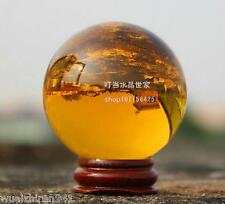Asian Quartz Amber Magic Crystal Healing Ball Sphere 40mm + Stand