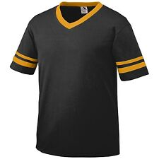 Augusta V-Neck Baseball Jersey Striped Sleeves S-XL 2XL Tee Team Sport Mens 360