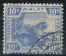 Fed Malay States 1923 10c Brt Blue SG65 V.F.U