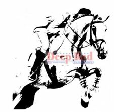 Deep Red Cling Rubber Stamp Steeplechase Horse Racing Equestrian rider