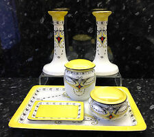 "Shelley Six Piece ""Geometric"" Pattern Royal Toilet Table Set."
