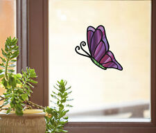 """CLR:WND - Butterfly D1 - Stained Glass Vinyl Window Decal ©YYDC (4.75""""w x 6""""h)"""