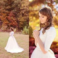 Designer Simple Scoop Lace Wedding Dresses Western Country Modest Bridal Gowns