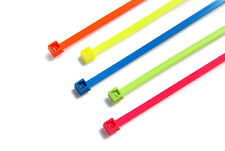 Fluorescent Nylon Cable Ties 300 x 4.8mm - 100pcs Mixed Neon Colours Pack
