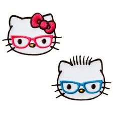 Hello Kitty - Köpfe Brille - 2 Aufnäher Aufbügler Applikation Patch - Neu #9419