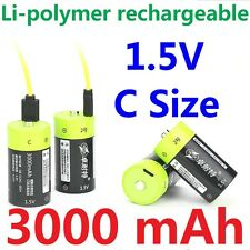 4pcs ZNTER 1.5V 3000mAh C Size Rechargeable Lithium Battery + USB charging cable