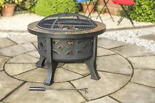 DIAMOND SLATE TILE FIREPIT / BBQ GRILL GARDEN HEATER FIRE - FACTORY SECOND