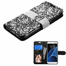 For Samsung Galaxy S7 Edge Black Silver Leather Rhinestone Case Cover