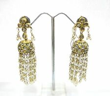 Vintage antique solid 20k Gold jewelry Diamond Pearl Earring Pair Dangle India