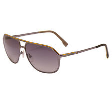 Lacoste - Dark Shiny Gunmetal with Yellow Trim Classic Sunglasses with Case