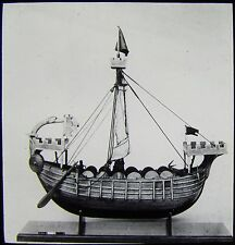 Glass Magic Lantern Slide CRUSADERS SHIP MODEL C1910 PHOTO MEDIEVAL
