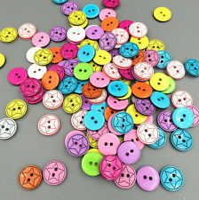 FREE 100PCS Round Resin Buttons Fit Sewing and Scrapbooking  Stars 12mm Craft