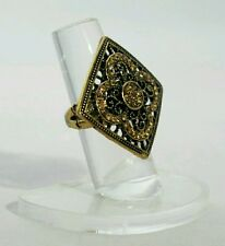 """SQUARE Antique 1"""" Gold Crystal Gold Tone Stretch Band Cocktail Ring Gift"""