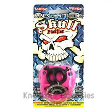 Pink Skull Pacifier Funny Gift Baby Shower Present Silicone Pirate Glows in Dark