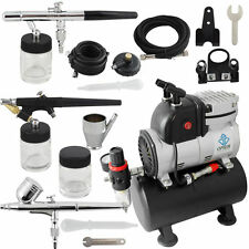 OPHIR Pro 110V Air Tank Compressor with Fan & 3x Airbrush Kits Set for Tattoos